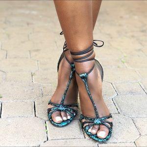 Jimmy Choo Snake print sandal heels